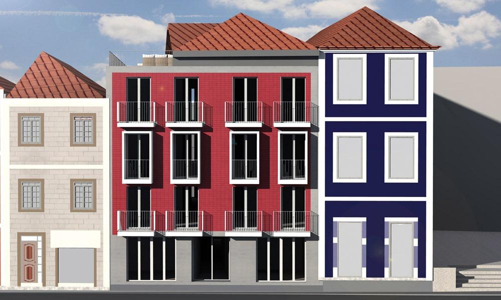 Alçado nascente do edifício em projeto na zona de S. Gonçalinho, Beira Mar, Aveiro - Miguel Salvadorinho (civilria)